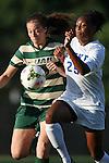 31 August 2014: UAB's Sharon Osterbind (left) and Duke's Anastasia Hunt (25). The Duke University Blue Devils hosted the University of Alabama Birmingham Blazers at Koskinen Stadium in Durham, North Carolina in a 2014 NCAA Division I Women's Soccer match. Duke won the game 3-1.