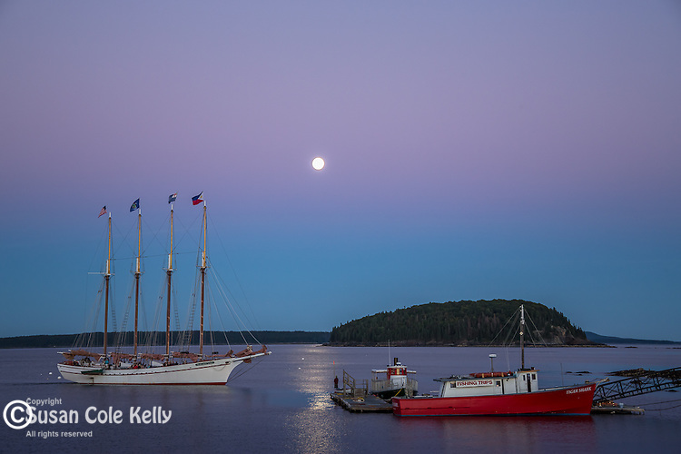 A full moon over the Margaret Todd on Frenchman Bay in Bar Harbor, Maine, USA