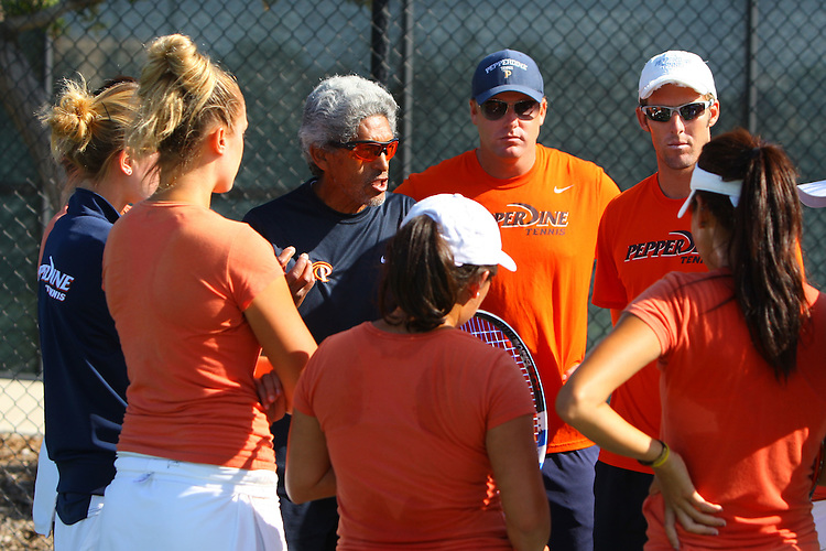 April 22, 2011; San Diego, CA, USA; Pepperdine Waves women's tennis head coach Gualberto Escudero during the second round of the WCC Tennis Championships at the Barnes Tennis Center.