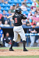 Hickory Crawdads left fielder Eric Jenkins (5) awaits a pitch during a game against the Asheville Tourists at McCormick Field on July 14, 2017 in Asheville, North Carolina. The Crawdads defeated the Tourists 6-3. (Tony Farlow/Four Seam Images)