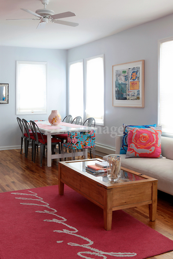 bright girly open plan living room