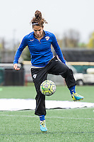 Allston, MA - Sunday, May 1, 2016:  Boston Breakers midfielder Angela Salem (26) during warmups before a match with the Portland Thorns FC at Jordan Field, Harvard University.