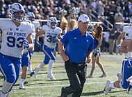Annapolis, MD - October 7, 2017: Air Force Falcons head coach Troy Calhoun  runs out before the game between Air Force and Navy at  Navy-Marine Corps Memorial Stadium in Annapolis, MD.   (Photo by Elliott Brown/Media Images International)