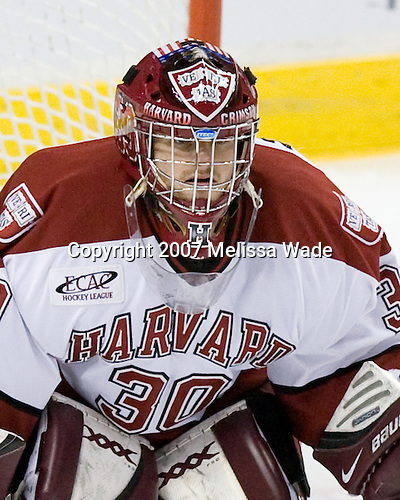 Mike Coskren (Harvard - 30) - The Northeastern University Huskies defeated the Harvard University Crimson 3-1 in the Beanpot consolation game on Monday, February 12, 2007, at TD Banknorth Garden in Boston, Massachusetts.