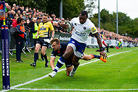 Semesa Rokoduguni of Bath Rugby looks to run in a try but the score is later ruled out for a forward pass. Pre-season friendly match, between Edinburgh Rugby and Bath Rugby on August 17, 2018 at Meggetland Sports Complex in Edinburgh, Scotland. Photo by: Patrick Khachfe / Onside Images