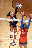 SAN ANTONIO, TX - SEPTEMBER 5, 2013: The University of Florida Gators versus the University of Texas at San Antonio Roadrunners Volleyball at the UTSA Convocation Center. (Photo by Jeff Huehn)