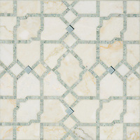 Fasaldo, a handmade mosaic shown in Aquaberyl glass, honed Cloud Nine  and polished Ming Green, is part of the Parterre Collection by Paul Schatz for New Ravenna.