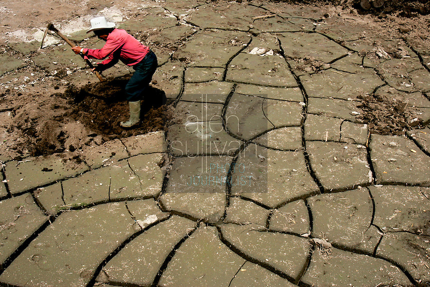 Jorge Quiej Sop works to recover his onion field from feet of mud. Many subsistence farmers in Zunil, a Mayan town in western Guatemala, lost fields and crops to mudslides and floods that occured around October 5 when torrential rains associated with Hurricane Stan inundated parts of Central America.<br />