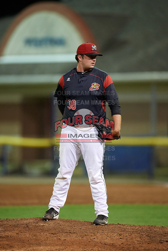 Batavia Muckdogs relief pitcher Bryce Howe (30) looks in for the sign during a game against the Mahoning Valley Scrappers on August 30, 2017 at Dwyer Stadium in Batavia, New York.  Batavia defeated Mahoning Valley 5-1.  (Mike Janes/Four Seam Images)
