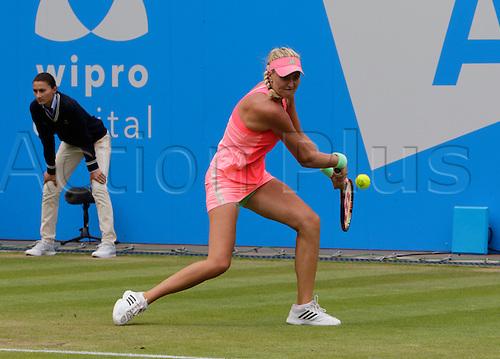 20.06.2015.  Birmingham, England. Aegon Classic Tennis Tournament. Kristina Mladenovic (Fra) in the rain-delayed semi-final action against Karolina Pliskova (Cze).