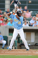 Infielder Hanser Alberto (12) of the Myrtle Beach Pelicans in a game against the Frederick Keys on August 4, 2012, at TicketReturn.Com Field in Myrtle Beach, South Carolina. Myrtle Beach won, 4-3. (Tom Priddy/Four Seam Images)