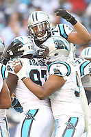 12/16/12 San Diego, CA:  Carolina Panthers Defense celebrate during an NFL game played between the Carolina Panthers and the San Diego Chargers held at Qualcomm Filed. The Panthers defeated the Chargers 31-7