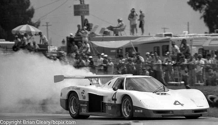 #4 Chevrolet Corvette GTP of Carson Baird and Terry Labonte encounters trouble in the 12 Hours of Sebring, at Sebring Raceway, Sebring, FL, March 23, 1985.  (Photo by Brian Cleary/www.bcpix.com)