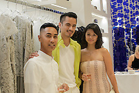 Robert J. Fabros, John Bonifacio and Jackie Bonifacio attend the Tadashi Shoji South Coast Plaza Re-Opening Celebration on July 11, 2013 (Photo by Inae Bloom/Guest of a Guest)