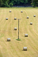 Field with telephone poles and bales of hay near Builth Wells, Wales...Copyright..John Eveson, Dinkling Green Farm, Whitewell, Clitheroe, Lancashire. BB7 3BN.01995 61280. 07973 482705.j.r.eveson@btinternet.com.www.johneveson.com
