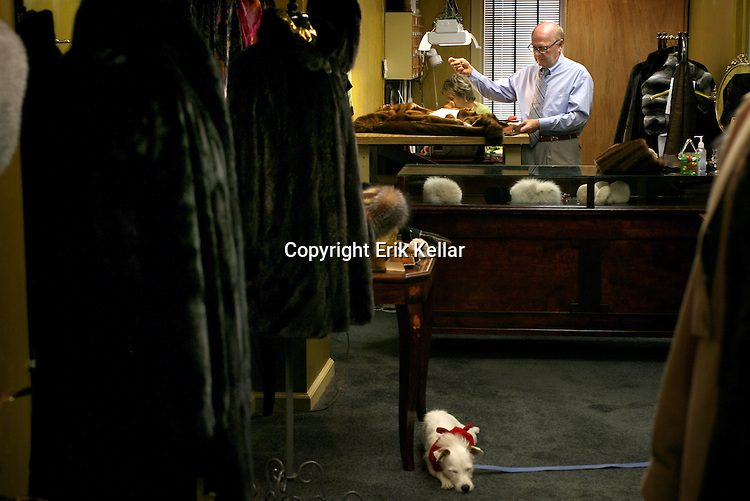 Henry , a furrier and owner of the sly fox works on re-designing a mink coat at his shop in Naples. Erik Kellar/Staff