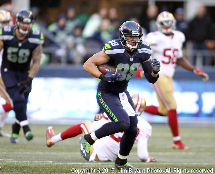 Seattle Seahawks tight end Jimmy Graham  (88) picks up first down yardage agains the San Francisco 49 picks up first down yardage agains the San Francisco 49ers at CenturyLink Field in Seattle, Washington on November 22, 2015.  The Seahawks beat the 49ers 29-13.   ©2015. Jim Bryant Photo. All RIghts Reserved.