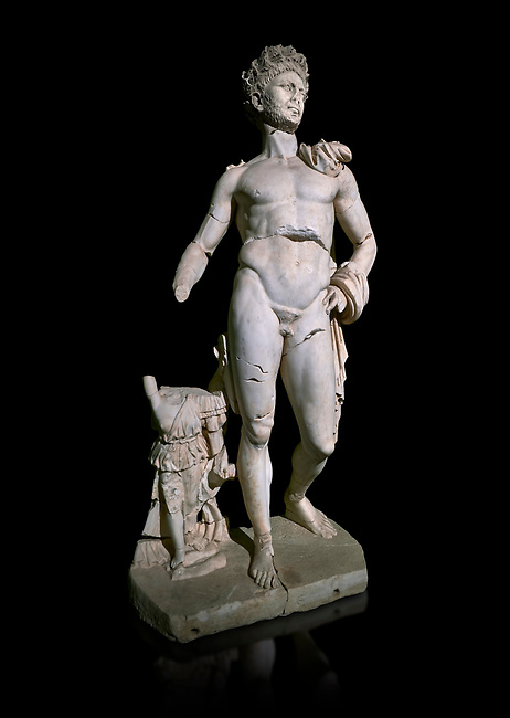 Roman statue of Emperor Trajan. Marble. Perge. 2nd century AD. Inv no . Antalya Archaeology Museum; Turkey. Against a black background.