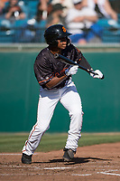 San Jose Giants second baseman Jalen Miller (2) shows bunt during a California League game against the Lancaster JetHawks at San Jose Municipal Stadium on May 12, 2018 in San Jose, California. Lancaster defeated San Jose 7-6. (Zachary Lucy/Four Seam Images)