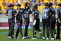 Martin Guptill celebrates catching England's Dawid Malan. Twenty20 International cricket match between NZ Black Caps and England at Westpac Stadium in Wellington, New Zealand on Sunday, 3 November 2019. Photo: Dave Lintott / lintottphoto.co.nz