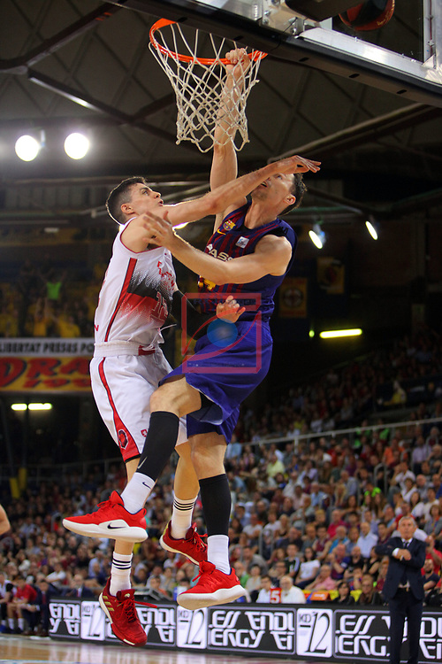 League ACB-ENDESA 201/2019.Game 38.<br /> PlayOff Semifinals.1st match.<br /> FC Barcelona Lassa vs Tecnyconta Zaragoza: 101-59.<br /> Carlos Alocen vs Kyle Kuric.