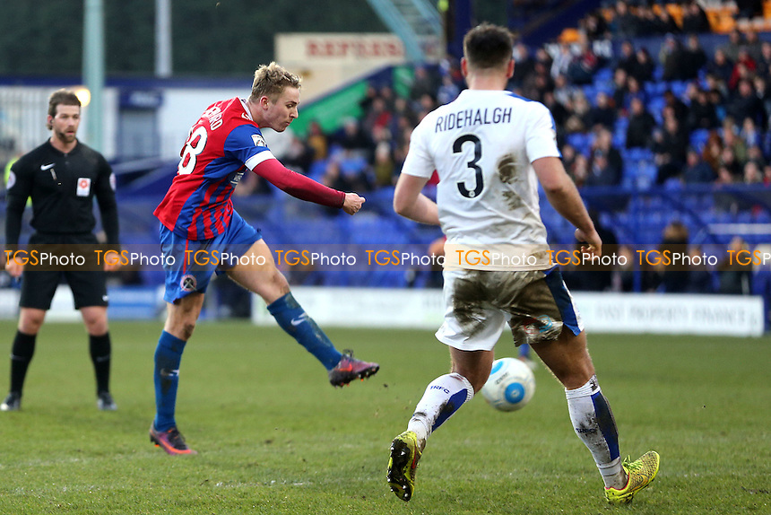 Liam Ridehalgh of Tranmere Rovers and Jake Sheppard of Dagenham during Tranmere Rovers vs Dagenham & Redbridge, Vanarama National League Football at Prenton Park on 28th January 2017