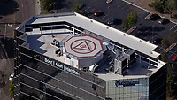 aerial photograph of the helipad on Pacific Center II, 1615 Murray Canyon Rd., San Diego, California, Booz | Allen | Hamilton and Liberty Mutual building signage