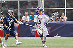 Connor Fields (#5) on the attack as Yale defeats UAlbany 20-11 in the NCAAA semifinal game at Gillette Stadium, May 26.