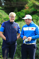 Thomas Plumb (GB&I) and Thomas Sloman (GB&I) on the 6th during the Foursomes at the Walker Cup, Royal Liverpool Golf CLub, Hoylake, Cheshire, England. 07/09/2019.<br /> Picture Thos Caffrey / Golffile.ie<br /> <br /> All photo usage must carry mandatory copyright credit (© Golffile | Thos Caffrey)