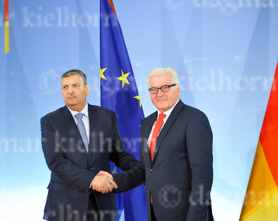 November 03-2016,German Foreign Office,Berlin,Germany<br /> The General Coordinator of the Syrian High Negotiation Committee (HNC), Riyad Hijab shakes hands with German Foreign Minister Frank-Walter Steinmeier