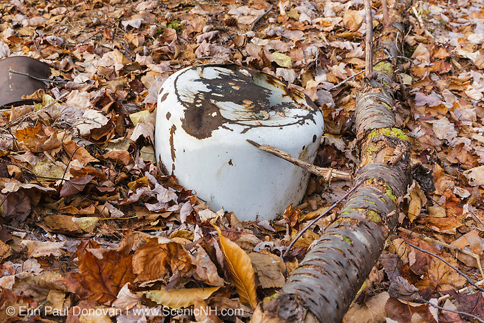 Artifact in the area of Greens Cliff Camp along the abandoned Sawyer River Railroad in Livermore, New Hampshire USA. This was a logging railroad which operated from 1877-1928.
