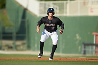 Michael Hickman (18) of the Kannapolis Intimidators takes his lead off of first base against the Hagerstown Suns at Kannapolis Intimidators Stadium on May 6, 2018 in Kannapolis, North Carolina. The Intimidators defeated the Suns 4-3. (Brian Westerholt/Four Seam Images)