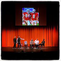 "WALNUT CREEK, CA - JANUARY 16:  iPhone Instagram of former San Francisco 49er greats Steve Young, Eric Wright, Brent Jones, and Dwight Hicks on stage with NBC Sports Bay Area's Matt Maiocco at the ""Letters to 87 LIVE"" fund raising event at the Lesher Center for the Arts on January 16, 2020 in Walnut Creek, California. (Photo by Brad Mangin)"