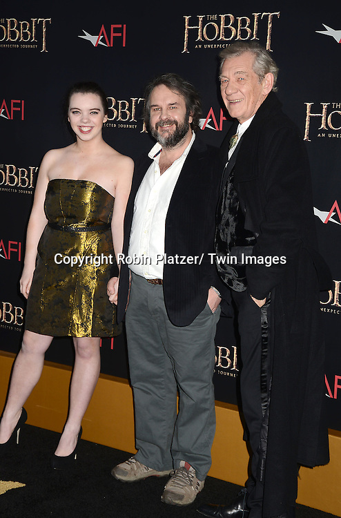 """Peter Jackson and Sir Ian McKellen  attends the US Premiere of """"The Hobbit"""" on December 6, 2012 at the Ziegfeld Theatre in New York City."""