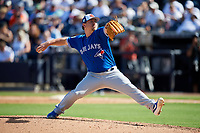Toronto Blue Jays relief pitcher Mark Leiter Jr. (49) delivers a pitch during a Grapefruit League Spring Training game against the New York Yankees on February 25, 2019 at George M. Steinbrenner Field in Tampa, Florida.  Yankees defeated the Blue Jays 3-0.  (Mike Janes/Four Seam Images)