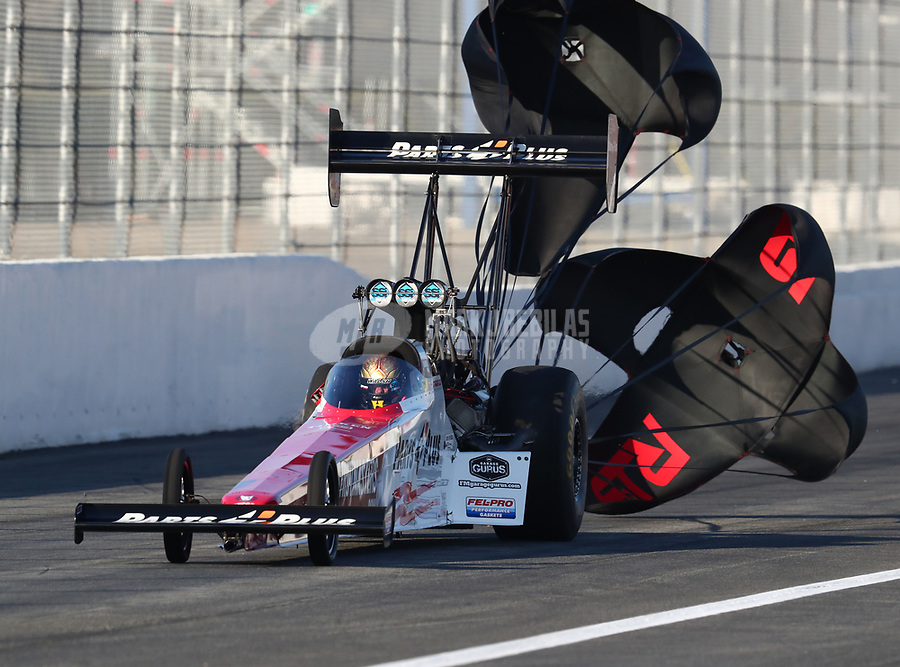 Feb 8, 2019; Pomona, CA, USA; NHRA top fuel driver Clay Millican during qualifying for the Winternationals at Auto Club Raceway at Pomona. Mandatory Credit: Mark J. Rebilas-USA TODAY Sports