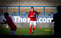 Sam Field (West Bromwich Albion) of England U20 warms up ahead of the International friendly match between England U20 and Netherlands U20 at New Bucks Head, Telford, England on 31 August 2017. Photo by Andy Rowland.