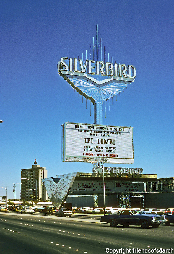 Las Vegas: Silverbird sign. Photo '79.