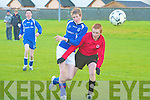 St Brendan's Park's Tom McLoughlin and Killarney Celtic's Shane O'Sullivan.