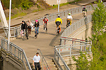 Bicyclists and Joggers on the Eastbank Esplanade, Portland, Oregon