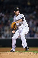 Charlotte Knights relief pitcher Daniel Webb (40) in action against the Durham Bulls at BB&T BallPark on April 14, 2016 in Charlotte, North Carolina.  The Bulls defeated the Knights 2-0.  (Brian Westerholt/Four Seam Images)