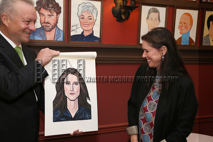 Max Klimavicius and Julie Taymor attends the Julie Taymor Sardi's Caricature unveiling at Sardi's Restaurant on November 3, 2017 in New York City.