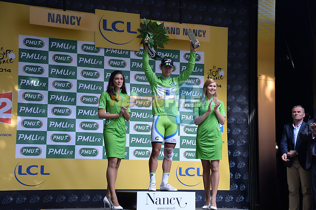 Peter Sagan (SVK) retains the sprinter's Green Jersey at the end of Stage 7 of the 2014 Tour de France running 234.5km from Epernay to Nancy. 11th July 2014.<br /> Photo ASO/X.Bourgois/www.newsfile.ie