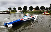 Nederland Purmerend -  22 juni  2018.  Solar Boat Race. Het onderdeel: Topspeed Solar Sport One. Ondanks de zware bewolking werd door enkele boten toch een hoge snelheid behaald.  Foto Berlinda van Dam Hollandse Hioogte