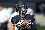 Wake Forest Demon Deacons wide receiver James Sriraman (25) warms-up prior to the game against the Notre Dame Fighting Irish at BB&T Field on September 22, 2018 in Winston-Salem, North Carolina. The Fighting Irish defeated the Demon Deacons 56-27. (Brian Westerholt/Sports On Film)