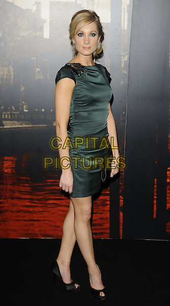 JOANNE FROGGATT .At the Specsavers Crime Thriller Awards 2010, Grosvenor House Hotel,  Park Lane, London, England, UK, .8th October 2010..full length green ruched silk satin dress peep toe black shoes .CAP/CAN.©Can Nguyen/Capital Pictures.