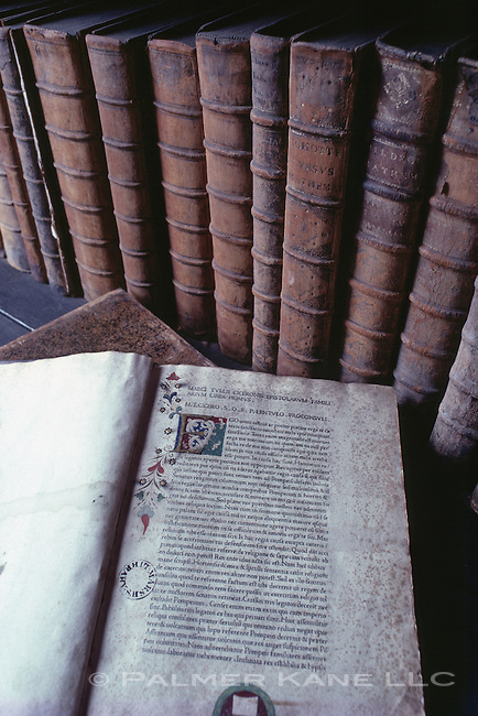 Hand Illuminated manuscripts in Marsh's Library, Dublin, Ireland. Built in 1701, it is one of the few 18th century buildings still being used for its original purpose