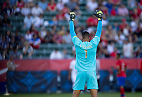 CARSON, CA - FEBRUARY 1: Esteban Alvarado #1 GK of Costa Rica during a game between Costa Rica and USMNT at Dignity Health Sports Park on February 1, 2020 in Carson, California.
