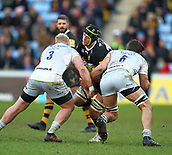 January 7th 2018, Ricoh Arena, Coventry, England;  Aviva Premiership rugby, Wasps versus Saracens; James Gaskell (Wasps)  is tackled by  Vincent Koch and Michael Rhodes of Saracens during the Aviva Premiership (Round 13) match between Wasps and Saracens rfc at the Ricoh Stadium