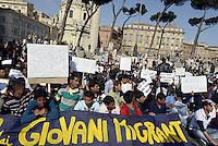 Roma, 12 Aprile 2013.Manifestazione sotto il Campidoglio contro l'operazione del Comune di Roma che opera continui controlli illegali e sommari verso i giovani e giovanissimi migranti ospiti nei centri di accoglienza per minori non accompagnati..